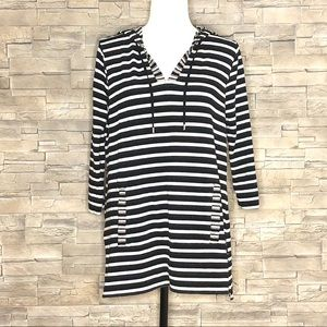 Cable & Gauge black and white striped hoodie